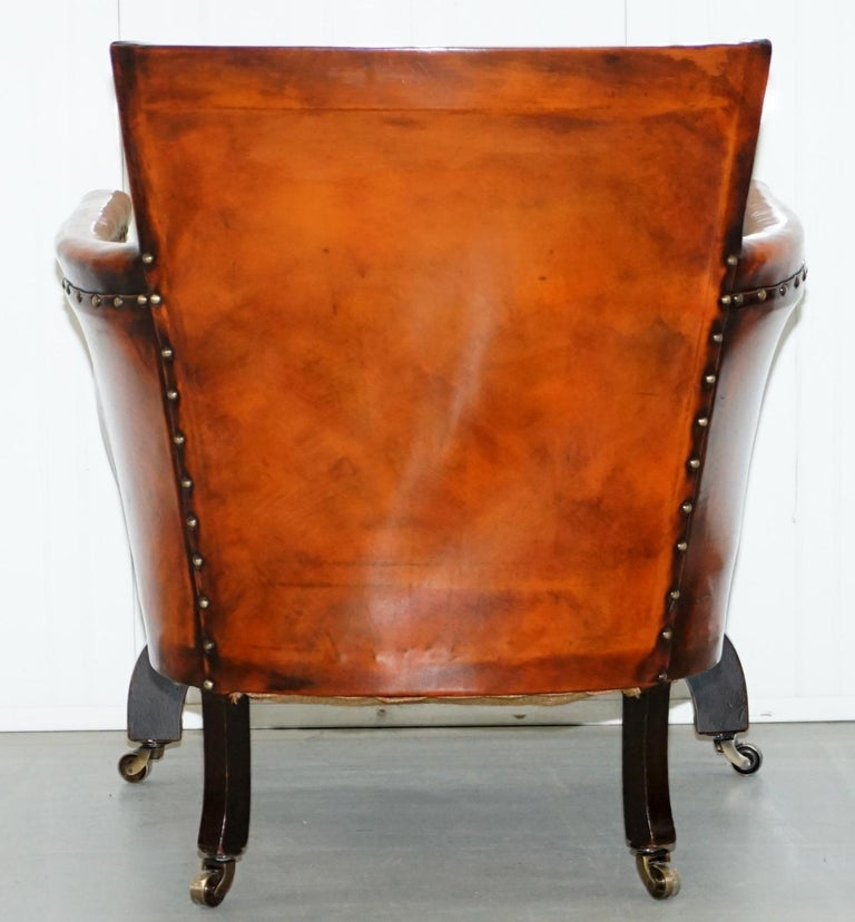Studded Edwardian Restored Whisky Brown Leather Tub Club Suite Sofa & Armchairs For Sale 6