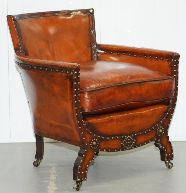 Studded Edwardian Restored Whisky Brown Leather Tub Club Suite Sofa & Armchairs For Sale 7