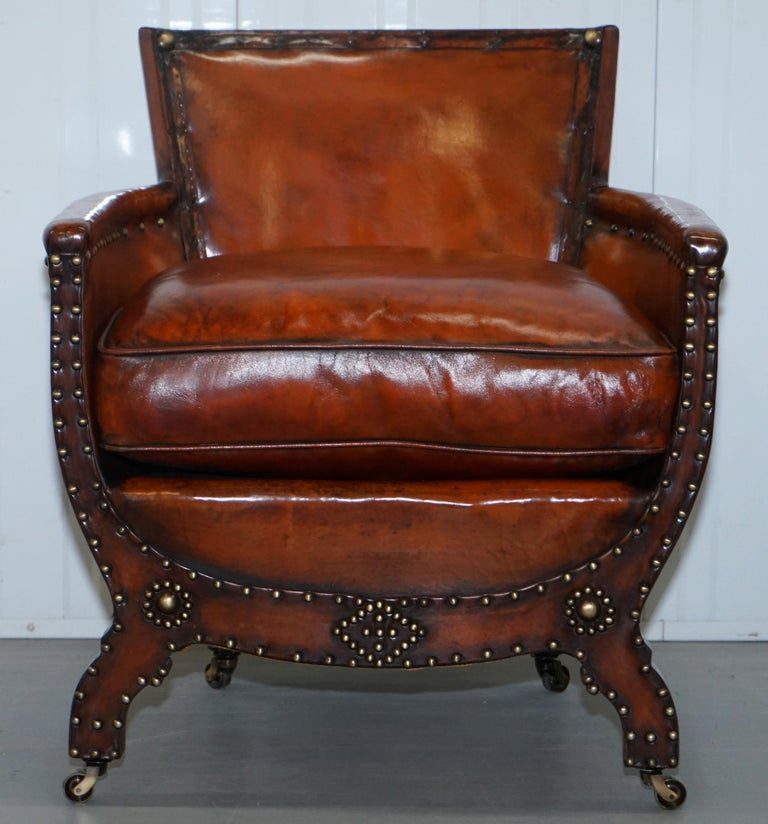 Studded Edwardian Restored Whisky Brown Leather Tub Club Suite Sofa & Armchairs For Sale 8