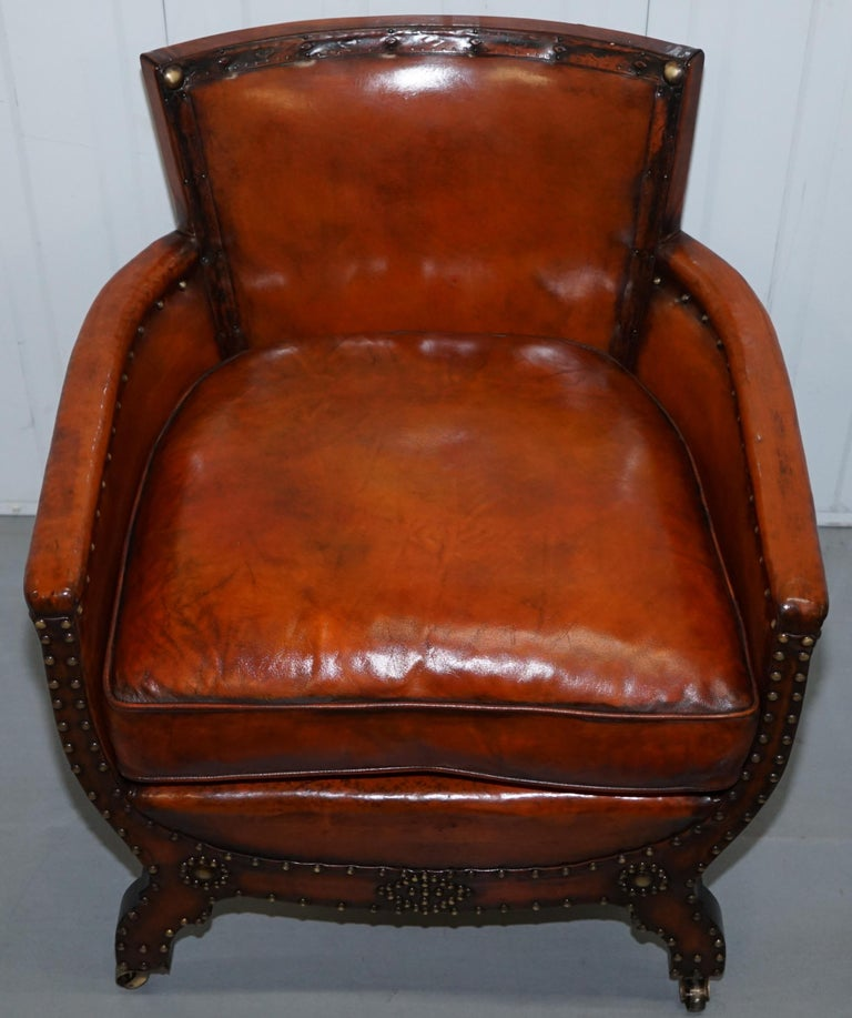 Studded Edwardian Restored Whisky Brown Leather Tub Club Suite Sofa & Armchairs For Sale 9