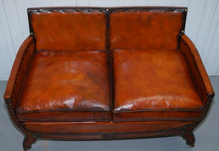 Studded Edwardian Restored Whisky Brown Leather Tub Club Suite Sofa & Armchairs For Sale 12