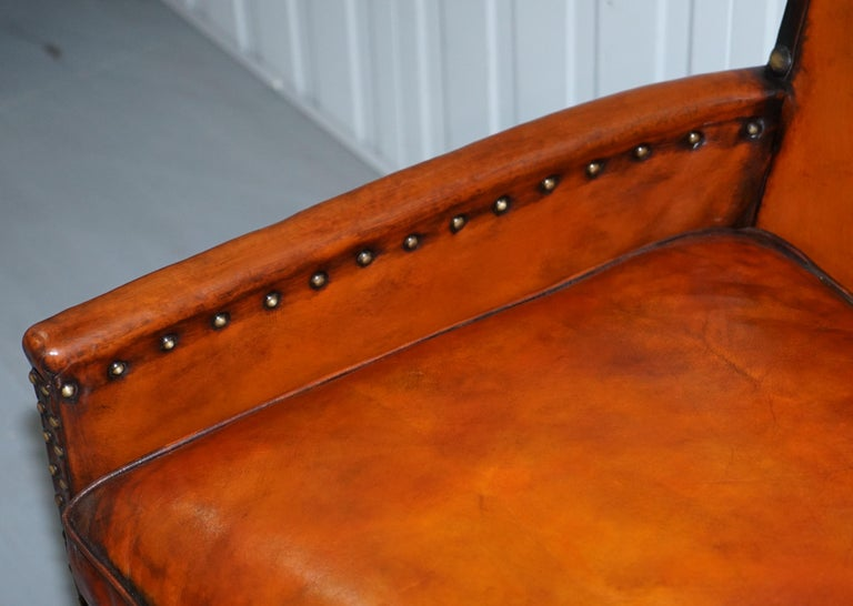 Studded Edwardian Restored Whisky Brown Leather Tub Club Suite Sofa & Armchairs For Sale 13