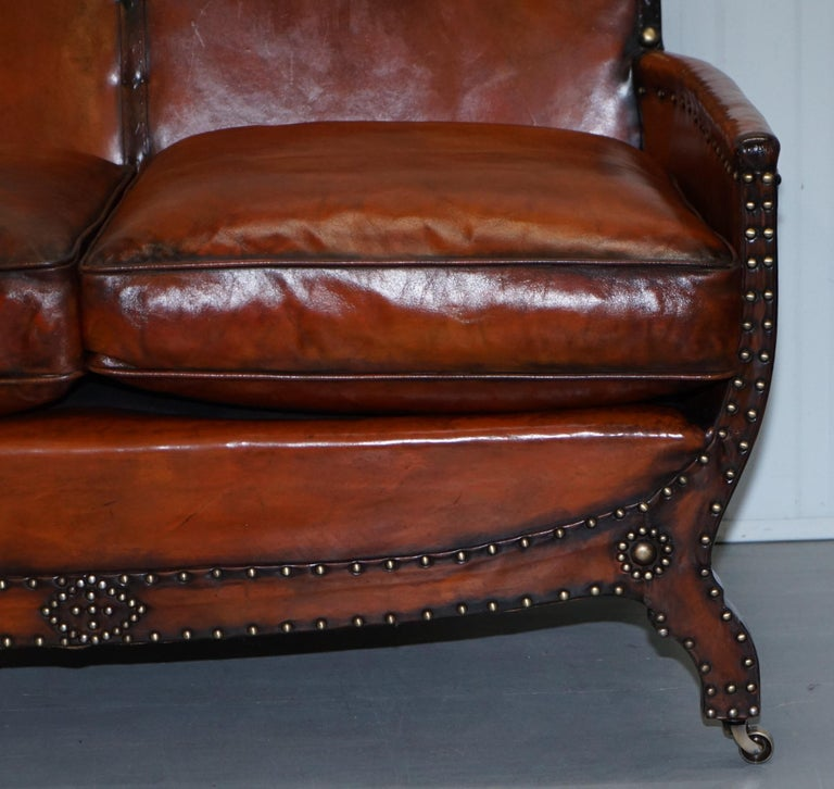 Studded Edwardian Restored Whisky Brown Leather Tub Club Suite Sofa & Armchairs For Sale 14