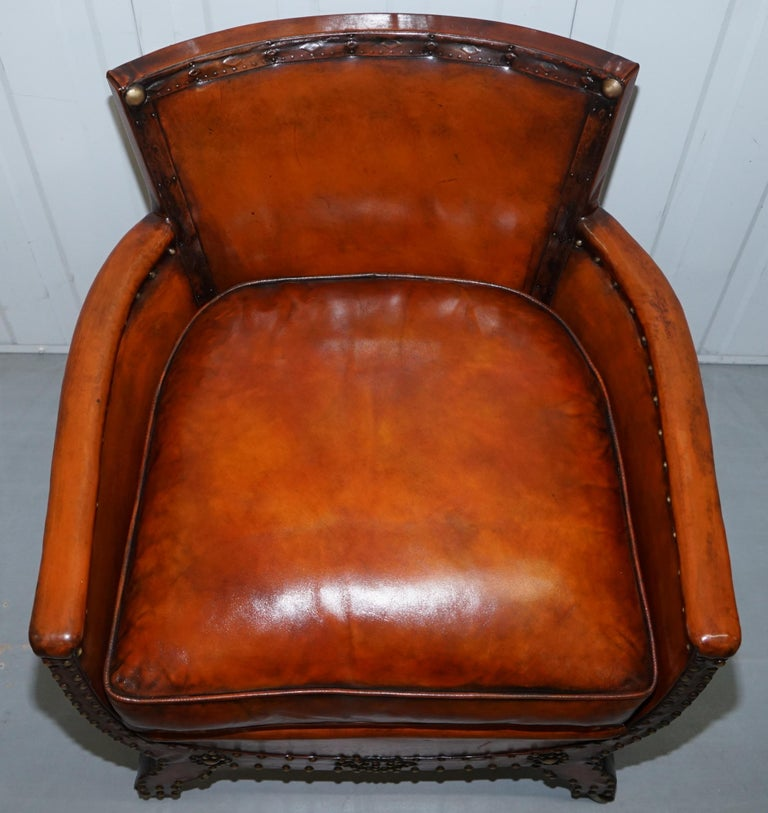 Hand-Carved Studded Edwardian Restored Whisky Brown Leather Tub Club Suite Sofa & Armchairs For Sale