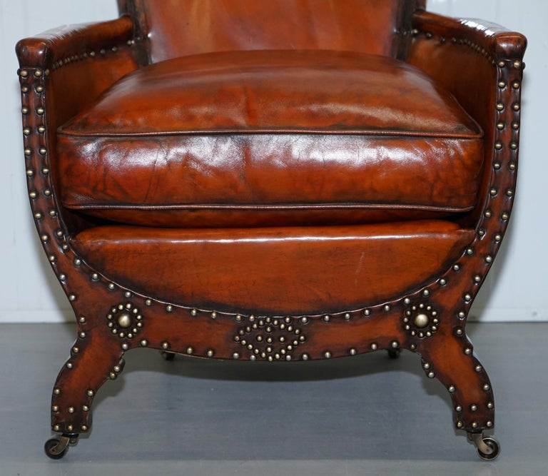 Early 20th Century Studded Edwardian Restored Whisky Brown Leather Tub Club Suite Sofa & Armchairs For Sale