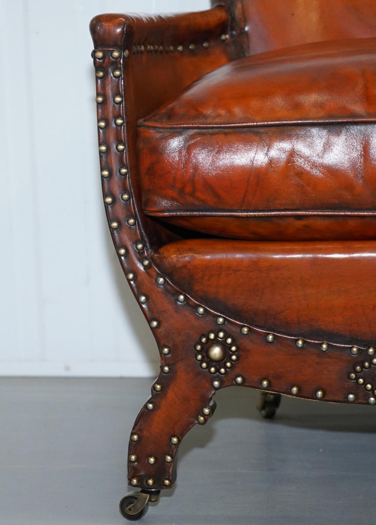 Studded Edwardian Restored Whisky Brown Leather Tub Club Suite Sofa & Armchairs For Sale 1