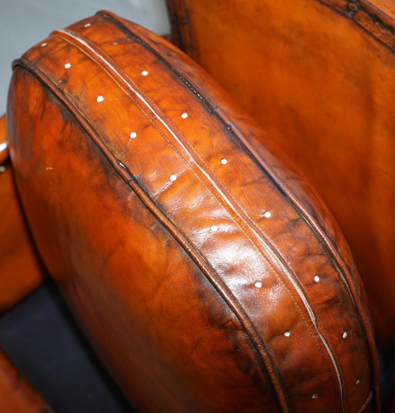 Studded Edwardian Restored Whisky Brown Leather Tub Club Suite Sofa & Armchairs For Sale 3