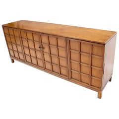 Studded Lattice Work Four Door long Credenza Server