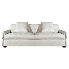 Studded Off-White Sofa