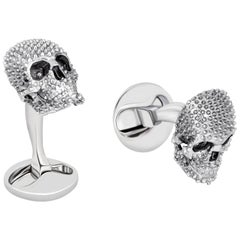 Studded Skull Cufflinks in Rhodium-plated Sterling Silver by Fils Unique