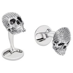 Studded Skull Cufflinks in Sterling Silver by Fils Unique