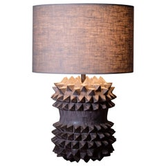 Studded Stoneware Barrel Table Lamp with Dark Grey Linen Shade by LGS Studio