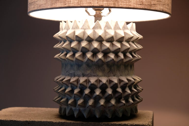 American Studded Stoneware Barrel Table Lamp with Grey Linen Shade by LGS Studio For Sale