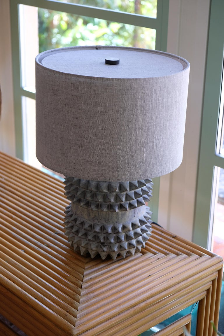 Glazed Studded Stoneware Barrel Table Lamp with Grey Linen Shade by LGS Studio For Sale