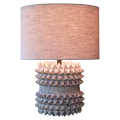 Studded Stoneware Barrel Table Lamp with Grey Linen Shade by LGS Studio