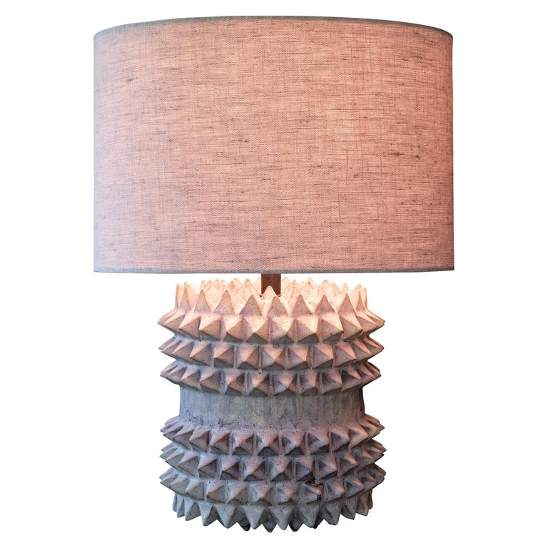 Studded Stoneware Barrel Table Lamp with Grey Linen Shade by LGS Studio For Sale