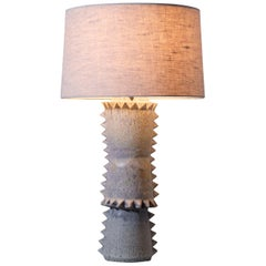 Studded Stoneware Table Lamp with Grey Linen Shade by LGS Studio