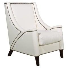 Studded White Armchair