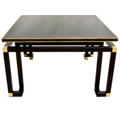 Studio A 1970s Italian Vintage Black Lacquered Wood and Brass Coffee/Sofa Table