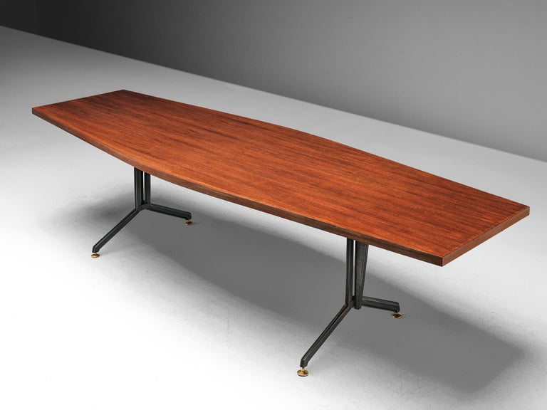 Studio BBPR for Olivetti, conference table, rosewood and metal, Italy, 1960s.
