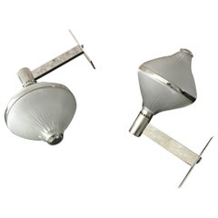 Studio BBPR Artemide Sconces Nickel-Plated Brass and Moulded Glass 1963 Italy