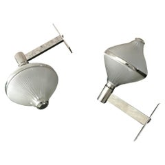 Studio BBPR Artemide Sconces Nickel-Plated Brass and Moulded Glass, 1963, Italy