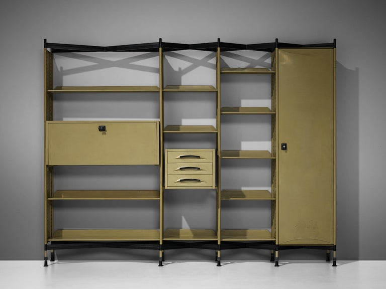 Italian Studio BBPR for Olivetti 'Spazio' Shelving System in Metal For Sale