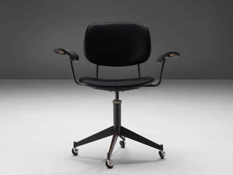 Studio BBPR for Olivetti, desk swivel chair 'Spazio', metal, leather, Italy, ca. 1960   The 'Spazio' series was designed by Studio BBPR for Olivetti in 1960. It won the Compasso d'Oro Award in 1962. Today the desk of the 'Spazio' series is