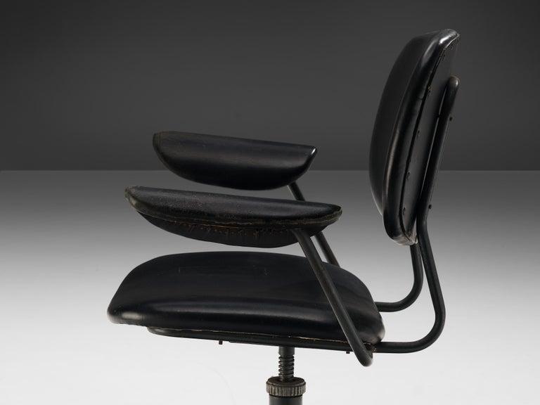 Italian Studio BBPR for Olivetti Swivel Desk Chair in Black Leather For Sale