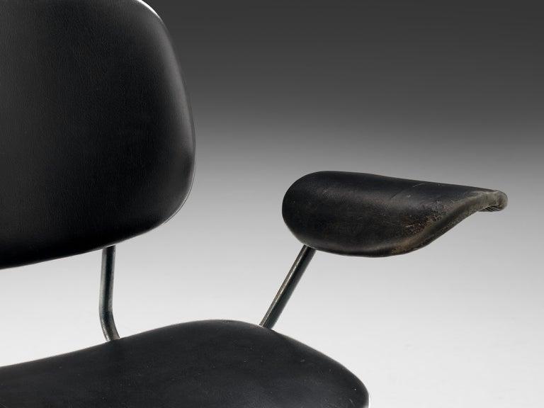 Metal Studio BBPR for Olivetti Swivel Desk Chair in Black Leather For Sale