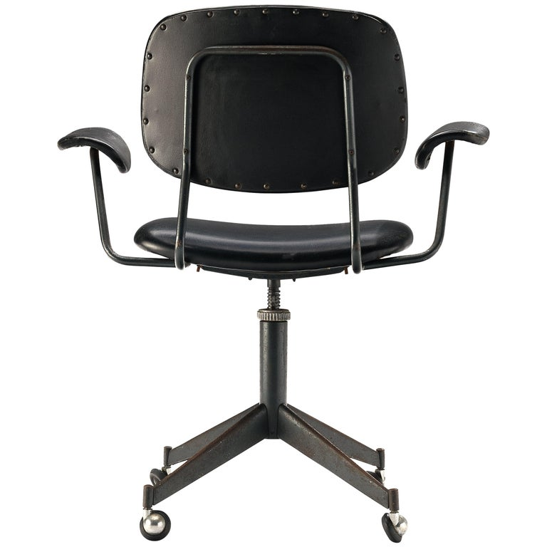 Studio BBPR for Olivetti Swivel Desk Chair in Black Leather For Sale