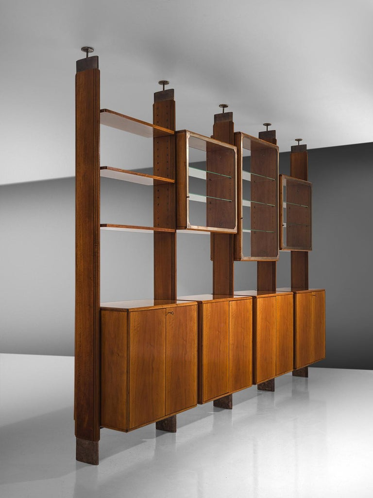 Italian Studio BBPR Fully Restored Room Divider in Walnut and Brass For Sale