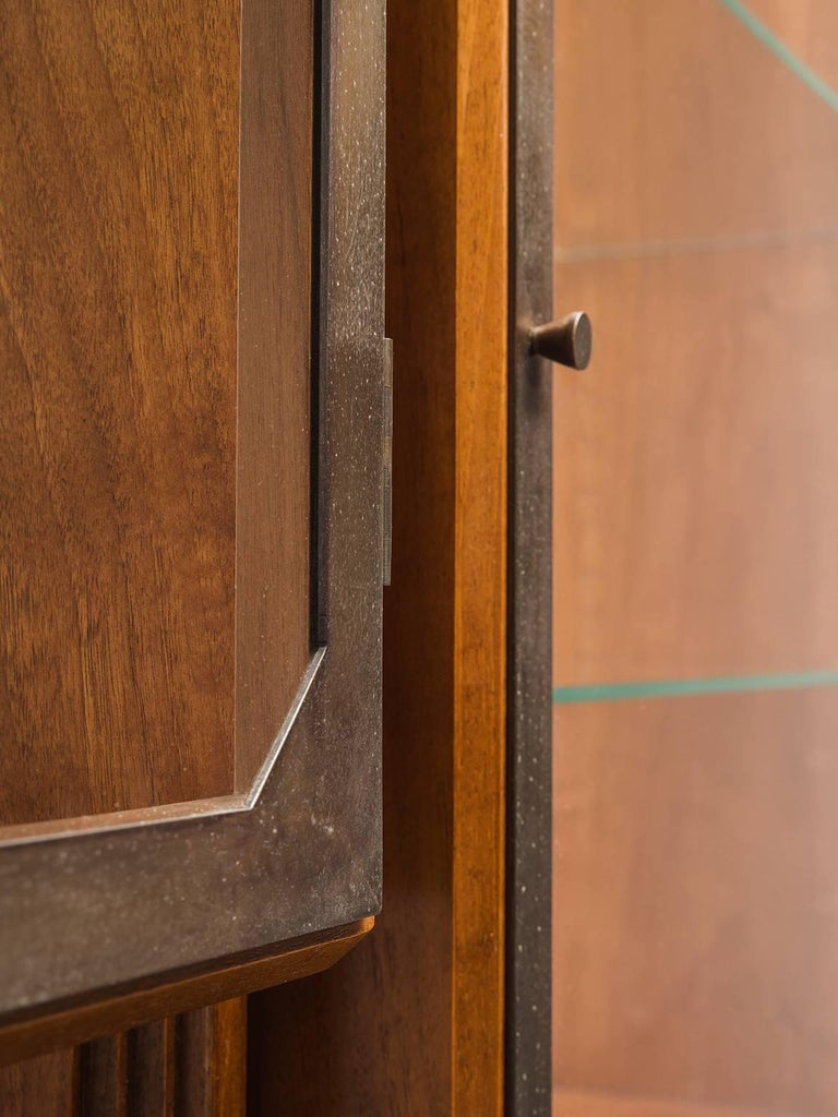 Mid-20th Century Studio BBPR Fully Restored Room Divider in Walnut and Brass For Sale