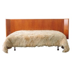 Studio BBPR Unique Double Bed in Wood and Burnished Brass Legs, Italy, 1959
