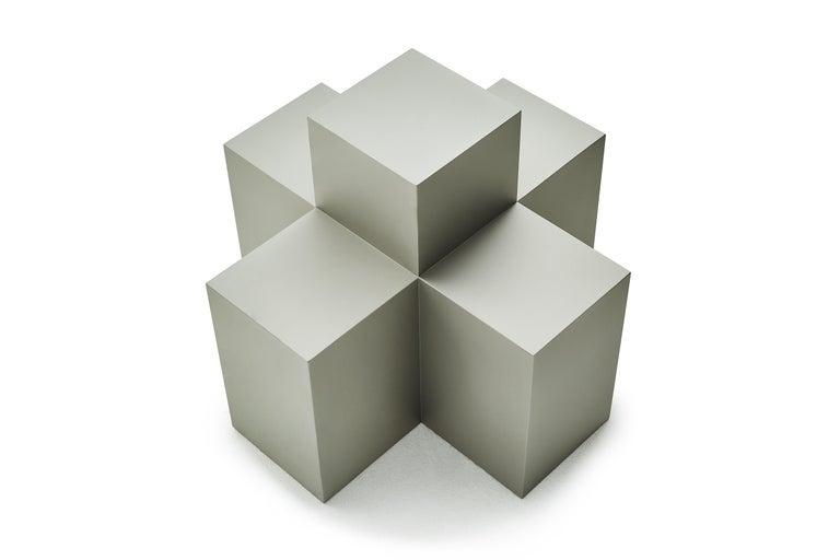 Contemporary Studio Brancusi I Sculptural Side Table Matte Steel Customizable For Sale