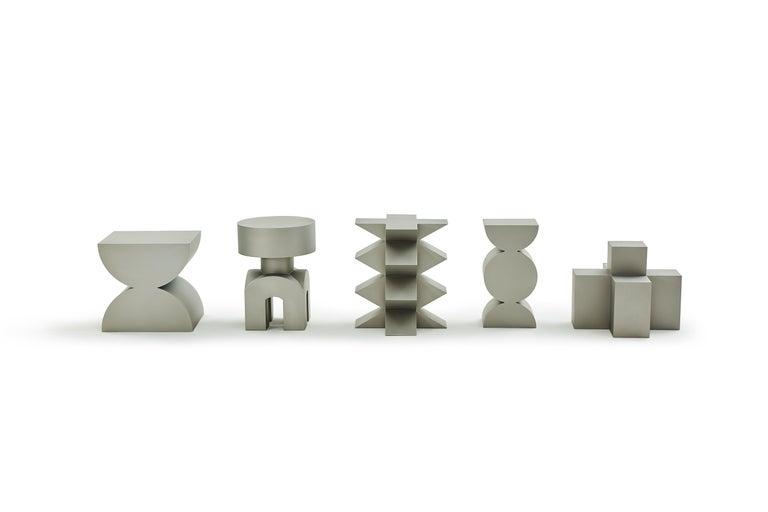 Studio Brancusi I Sculptural Side Table Matte Steel Customizable For Sale 1
