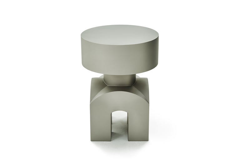 Chinese Studio Brancusi IX Sculptural Side Table Matte Steel Customizable For Sale