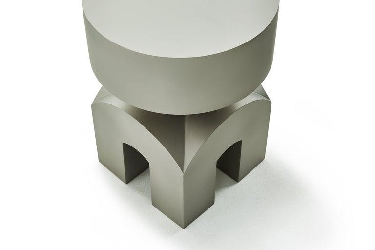 Contemporary Studio Brancusi IX Sculptural Side Table Matte Steel Customizable For Sale