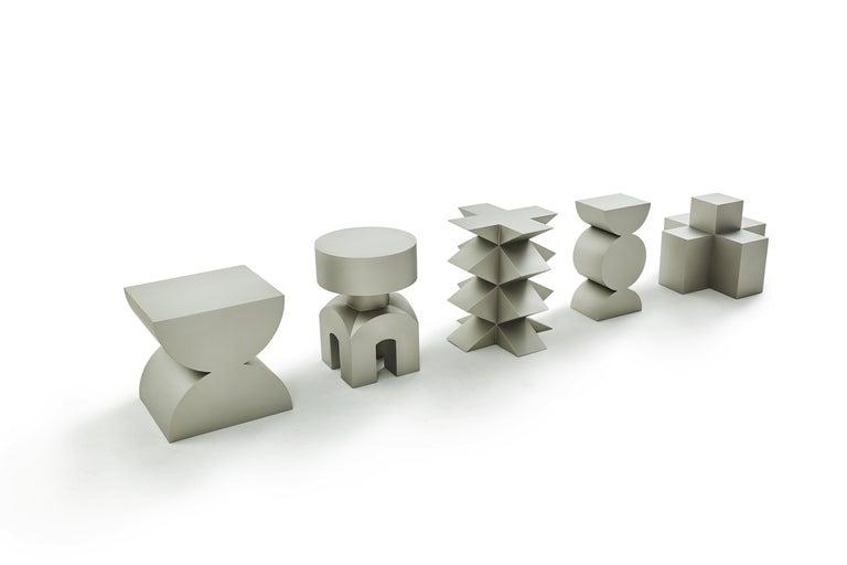Studio Brancusi IX Sculptural Side Table Matte Steel Customizable For Sale 2