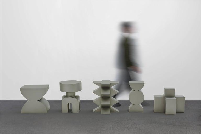 Studio Brancusi IX Sculptural Side Table Matte Steel Customizable For Sale 3