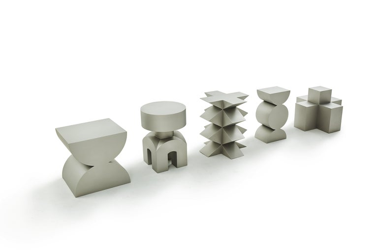 Studio Brancusi XI Sculptural Side Table Matte Steel Customizable For Sale 2