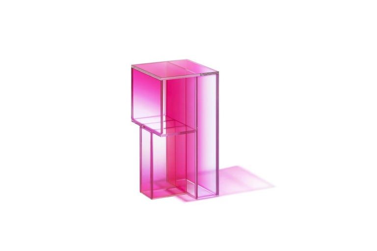 Chinese Studio Buzao, Null Side Shelf Hot Pink Edition, Laminated Glass, Limited Edition For Sale