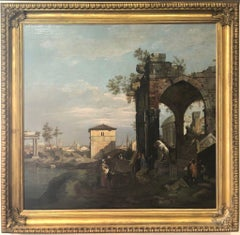 Oil Painting of Landscape: Neoclassical Scene with Architectural Ruins