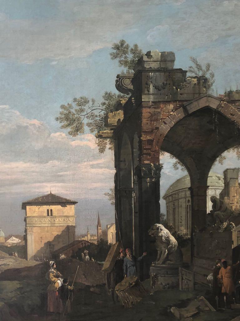 Oil Painting Studio Canaletto: Neoclassical Scene with Architectural Ruins - Brown Figurative Painting by Studio Canaletto (Venice 1697-1768)