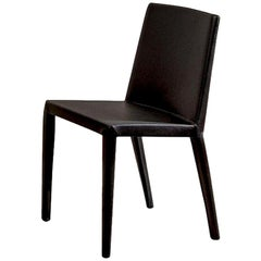 Studio Cappellini Normal Chair in Black with Leather Upholstery for Cappellini