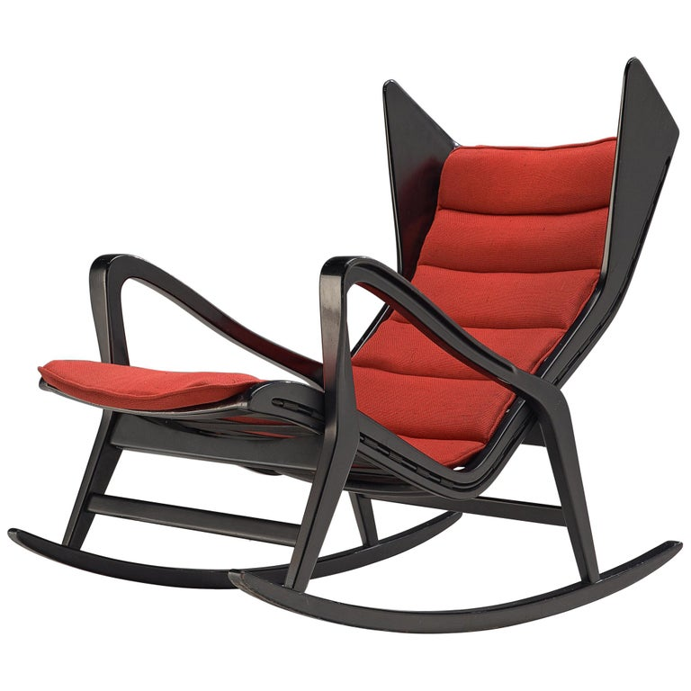 Wondrous Studio Cassina 572 Rocking Chair In Ebonized Wood And Red Fabric Machost Co Dining Chair Design Ideas Machostcouk