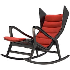 Studio Cassina '572 Rocking' Chair in Ebonized Wood and Red Fabric