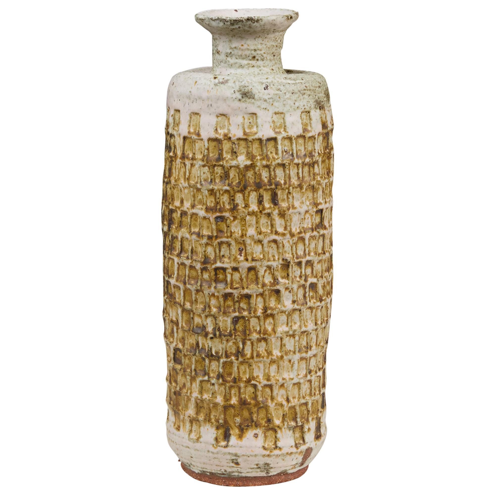 Studio Ceramic Vessel with Incised Geometric Pattern