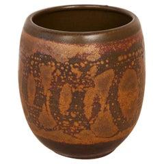Studio Ceramic Vessel with Painterly Glaze