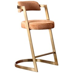 Studio Counter Stool in Burnished Brass with Terracotta Hide by Kelly Wearstler